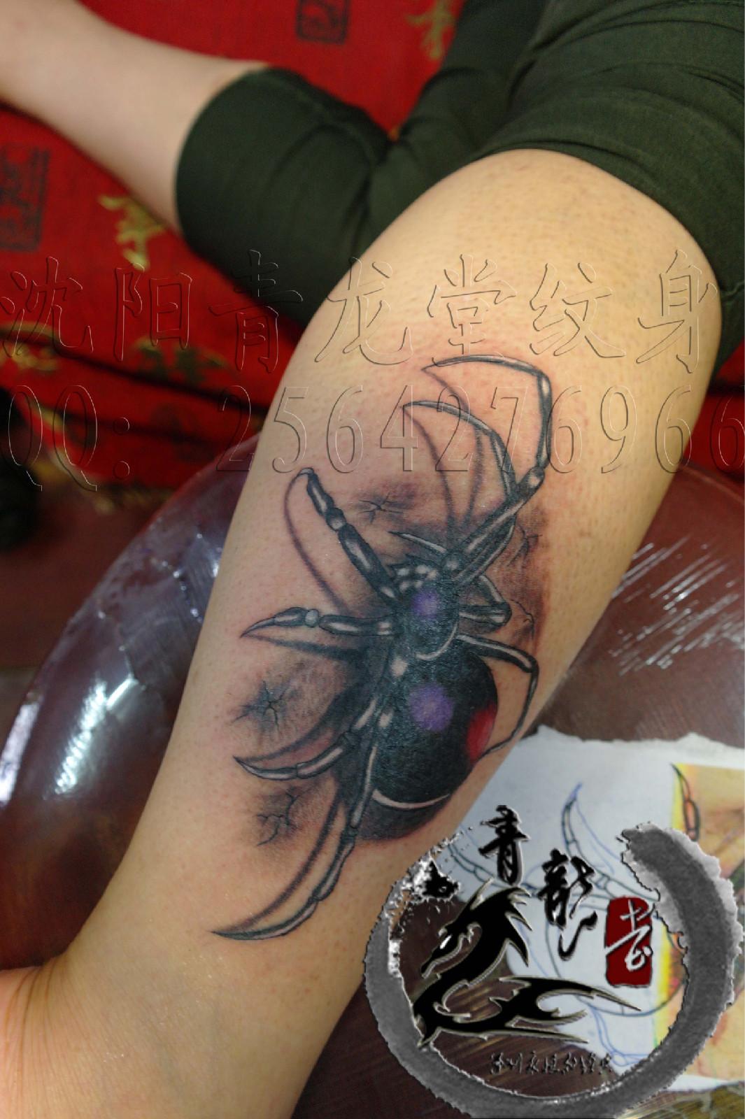 小腿纹身抢 男士花腿小腿纹身图片图片