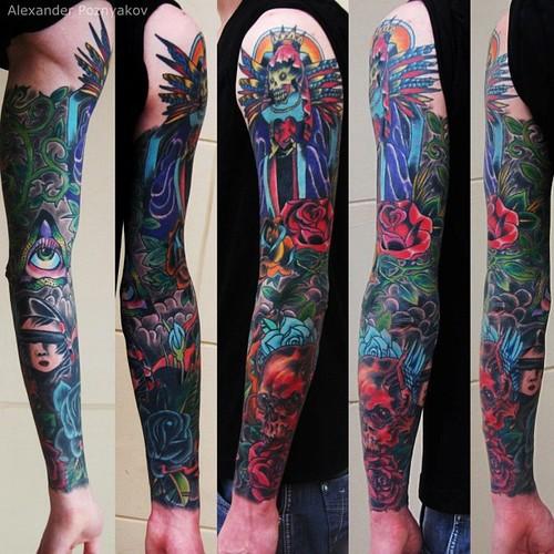 佛祖大花臂纹身|大臂龙纹身图案|2015最潮纹身大臂图片