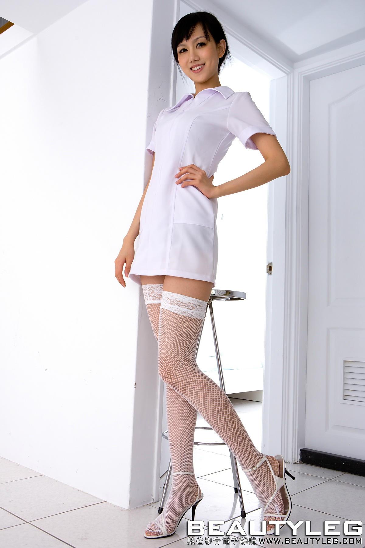 beautyleg清纯白色衬衫白色丝袜美女诱惑