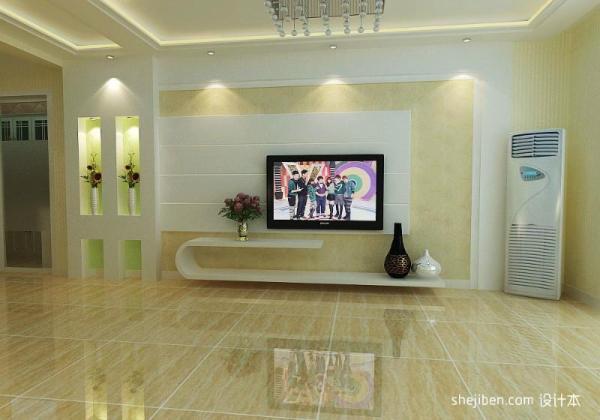客厅镂空隔断瓷砖影视墙设计 设计本装修效果