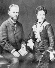 柴可夫斯基与妻子合影