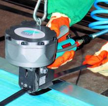 气动打包机工作原理 编辑 是一种摩擦熔接型打包机,重叠的热塑性打包图片