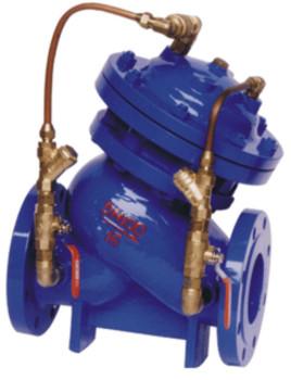 多功能水泵控制阀同时具有闸阀,逆止阀,水锤消除器三种阀件.图片
