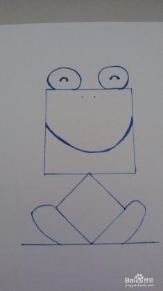过菱形下角画一条直线,略大于正方形的长度,从菱形的左右角开始画青蛙图片