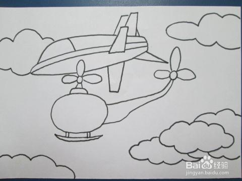 我们来学油画棒:[10]飞机图片