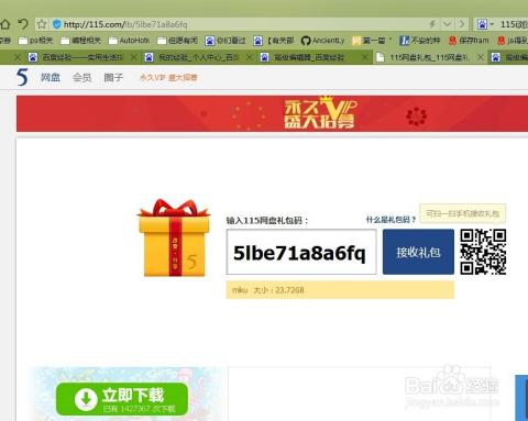 115网盘礼包码色_如何使用新版115网盘的礼包码下载资源?