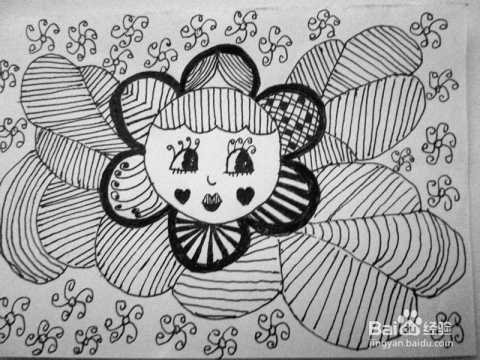 儿童黑白线描画《太阳花》的作画步骤图片