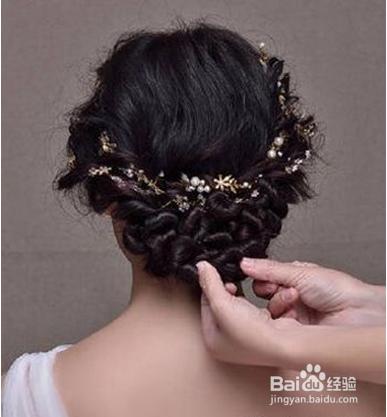 韩式新娘盘发教程图片
