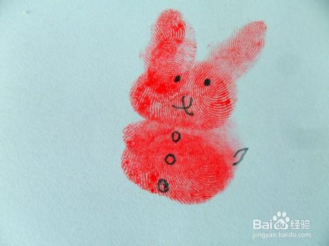 亲子活动:手指印画小兔子图片