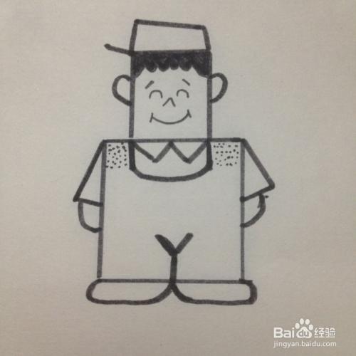 简笔画—工装小男孩图片