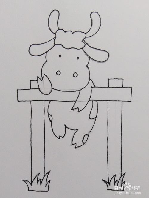 儿童简笔画教程之动物翻越栅栏的奶牛步骤教学图片