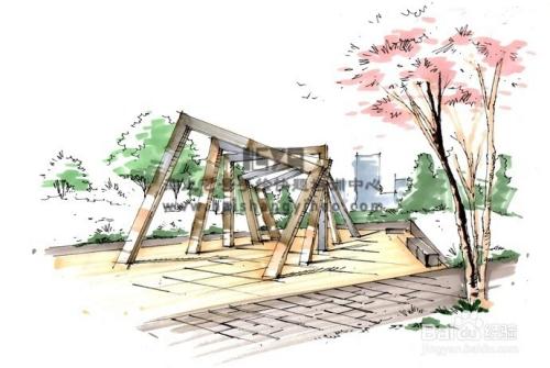 如何画风景园林手绘效果图