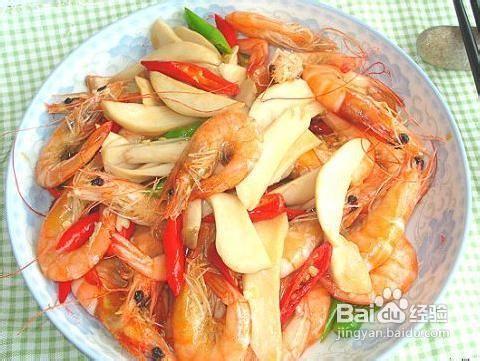 杏鲍菇炒大虾的制作方法图片