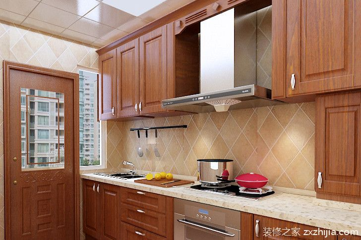 现代简约风格厨房整体橱柜装修效果图_装修之家装修效果图图片