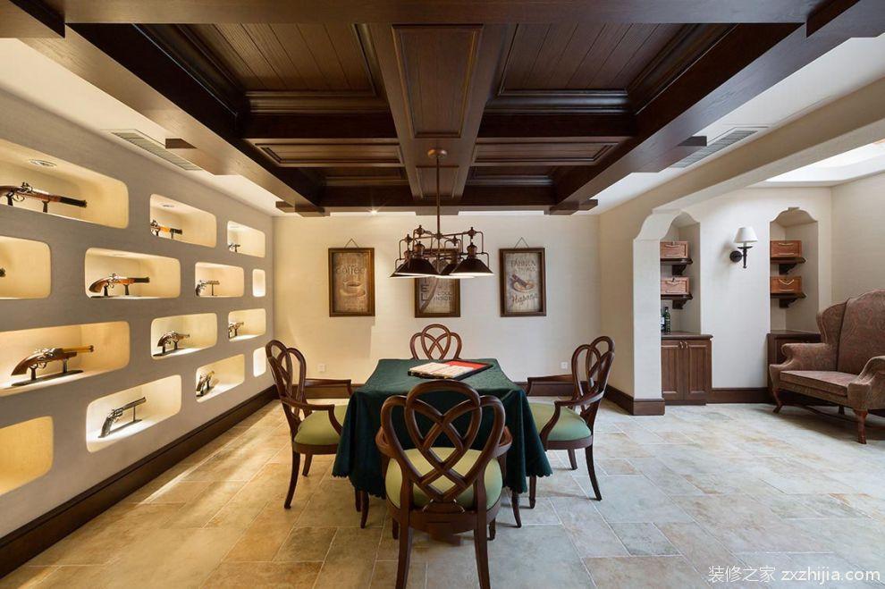 简约美式室内餐厅吊顶装修设计美图_装修之家装修效果图