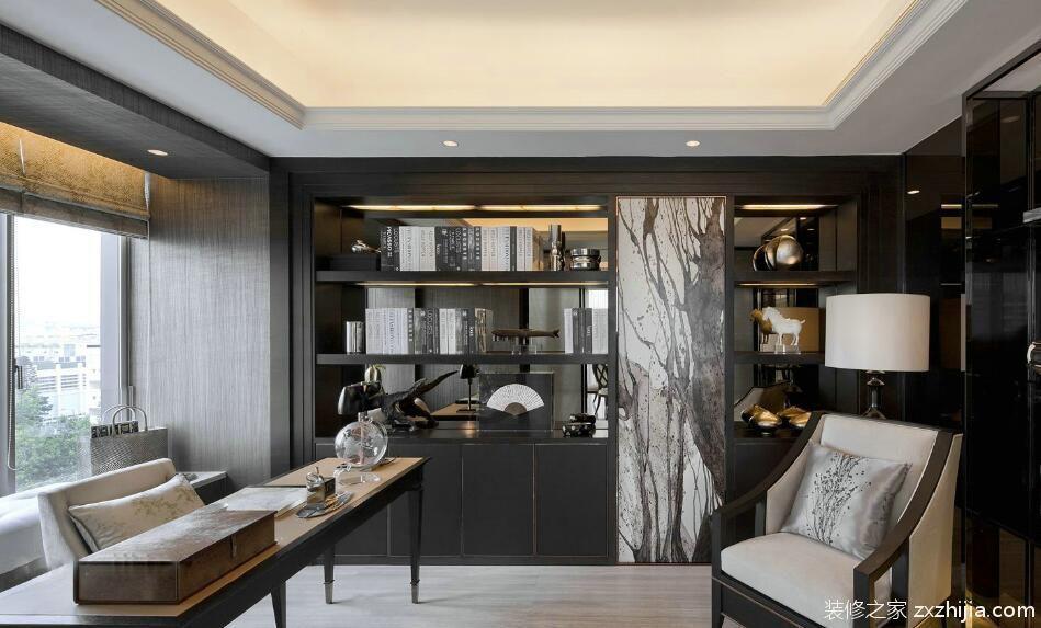 127平现代中式风格家装书房设计_装修之家装修效果图图片