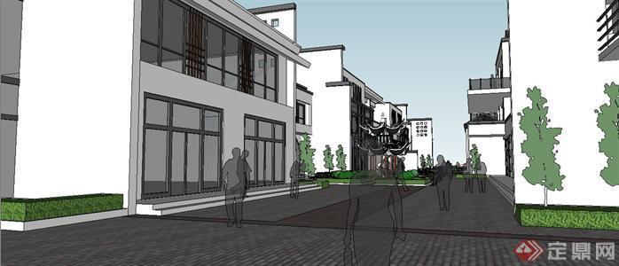 新中式小商业街建筑规划设计susketchup(su)3d模型图片
