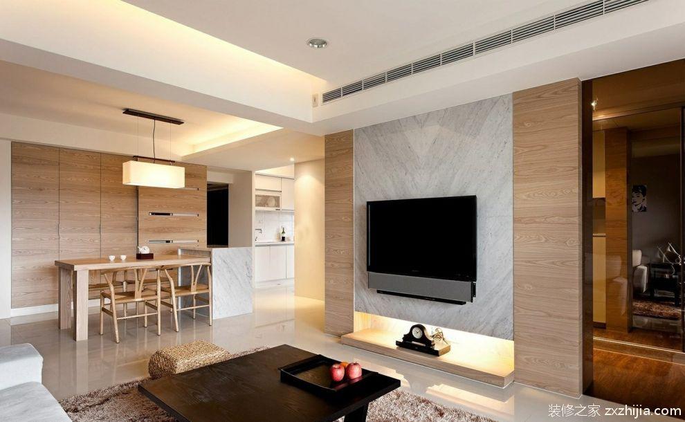简约公寓客厅电视背景墙装修效果图_装修之家装修效果图图片