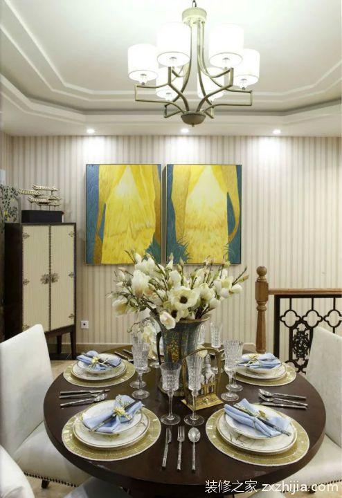 小户型美式田园风格餐厅照片墙效果图_装修之家装修效果图图片