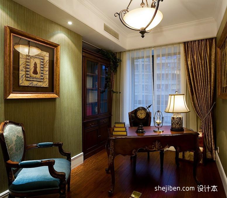 新古典风格别墅豪华书房书桌椅子书柜窗帘装饰画装修效果图 高清图片