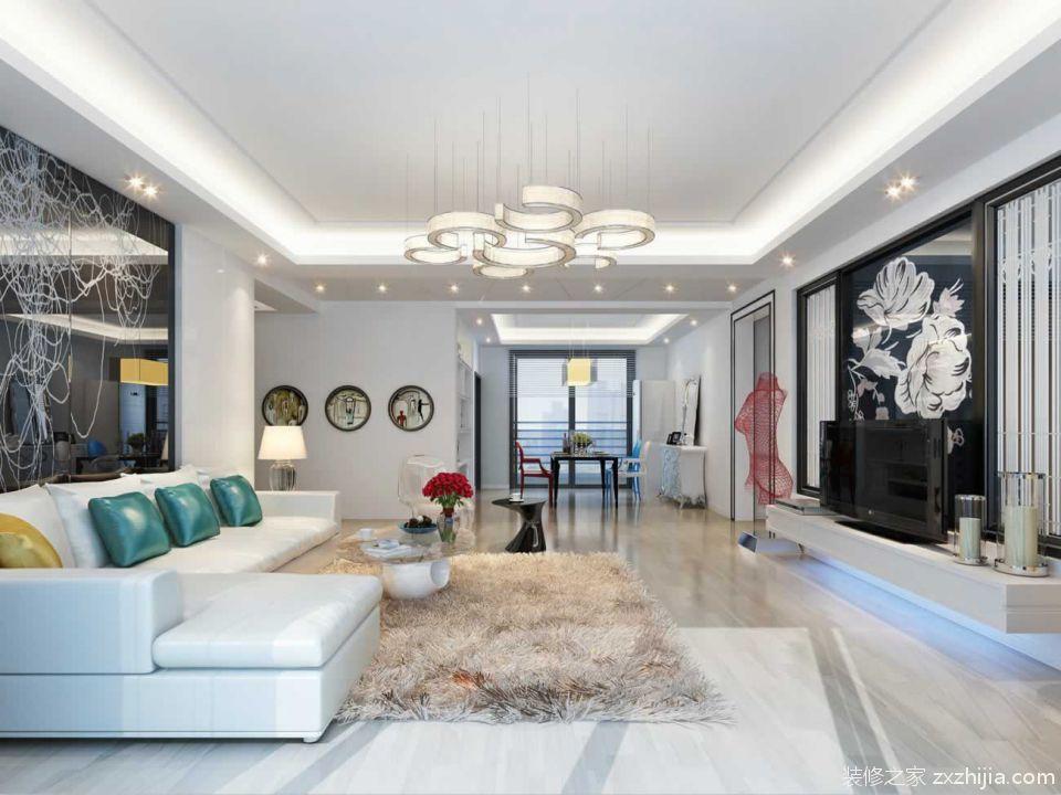 欧式简约客厅吊灯效果图 _装修之家装修效果图图片