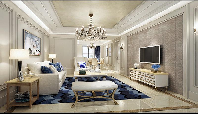 10-15万120平米欧式三居室装修效果图,简欧风格装修案例效果图-齐家图片
