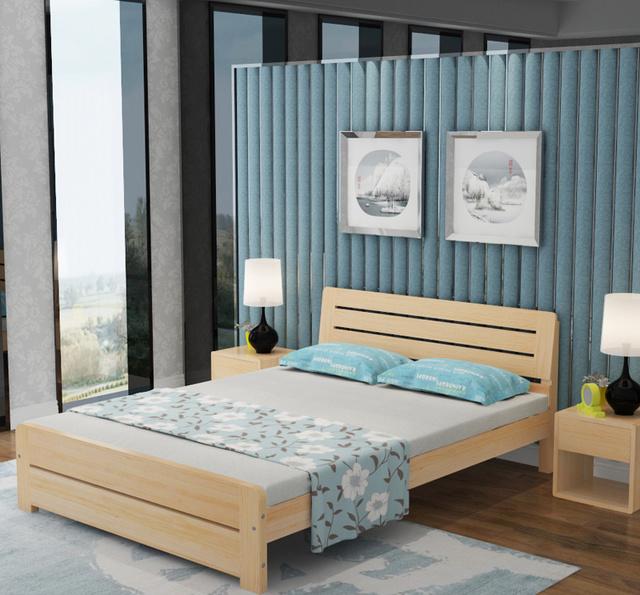 老式木板床早过时了,年轻夫妇都买松木床,简约时尚,透气性强图片