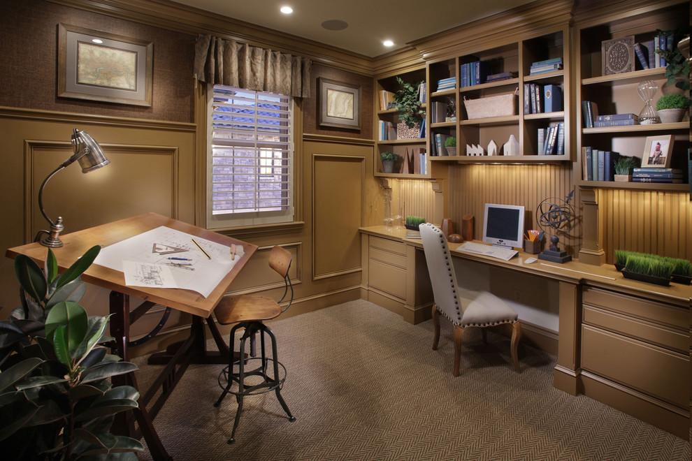 2013欧式风格小户型豪华书房书架书柜电脑桌椅子装修效果图高清图片