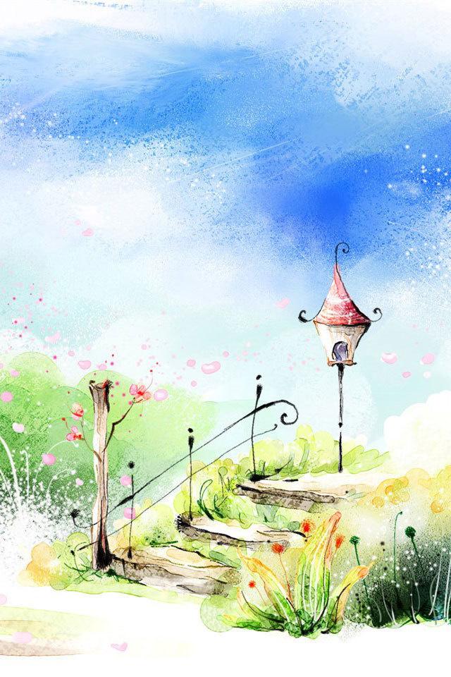 唯美小清新可爱手绘插画风景图片图片