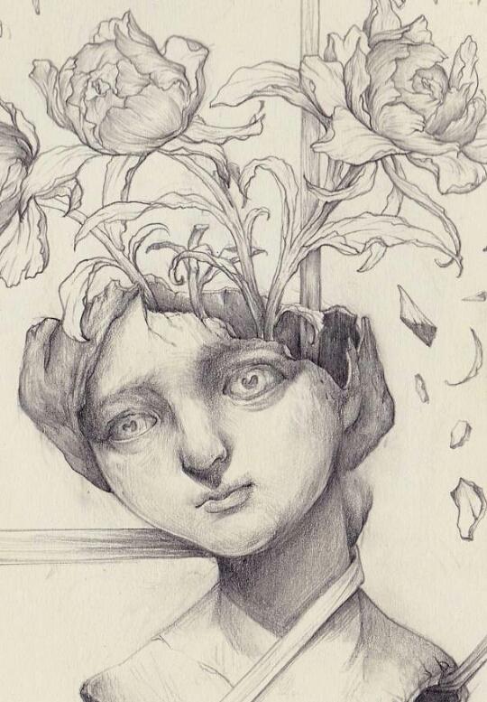 复古手绘素描告诉你,女孩极度忧郁的样子有多难过图片