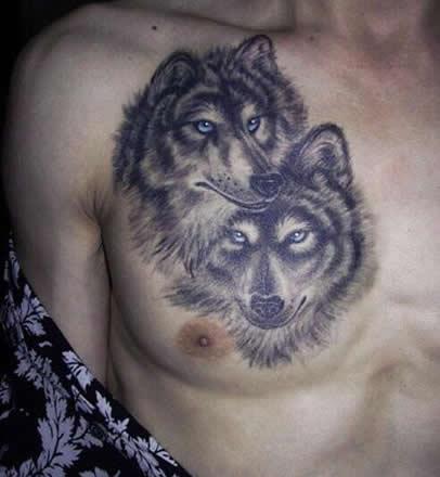 胸前狼头纹身图案 社会纹身图片霸气男图片