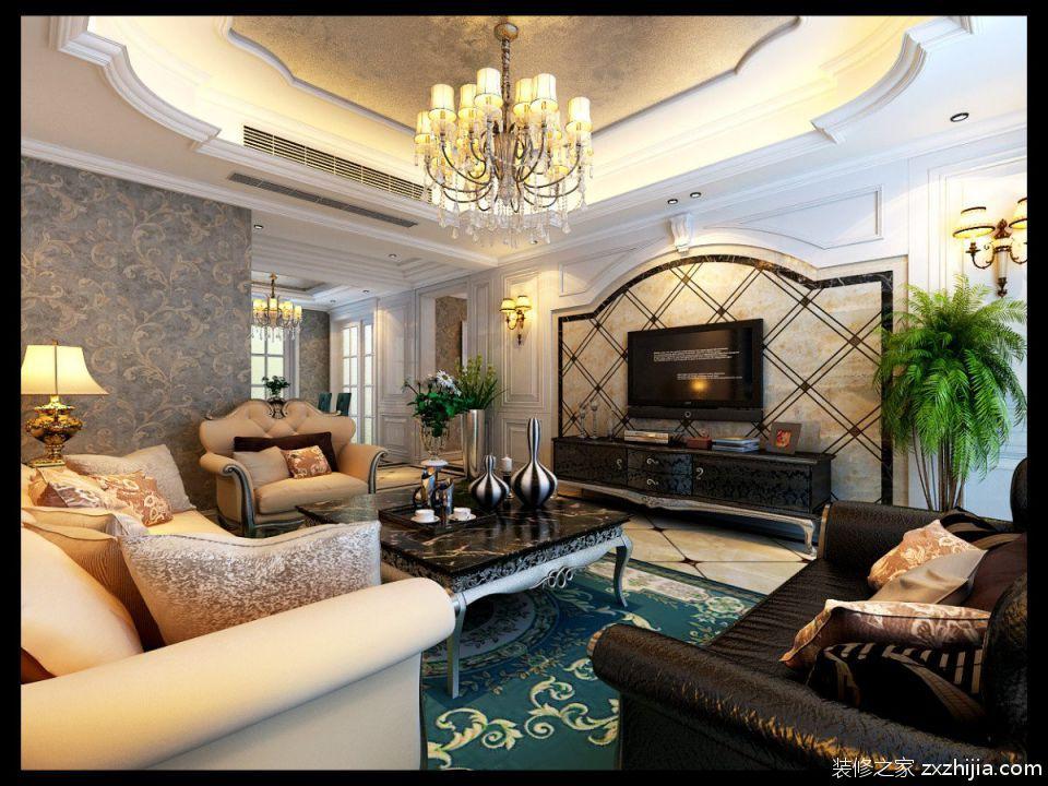 欧式米色客厅吊顶靓丽设计图片_装修之家装修效果图图片