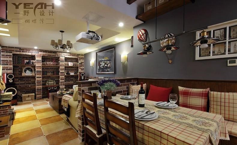 美式乡村风格96平方米二室二厅中户型房屋餐厅餐桌花瓶吧台装修效果图