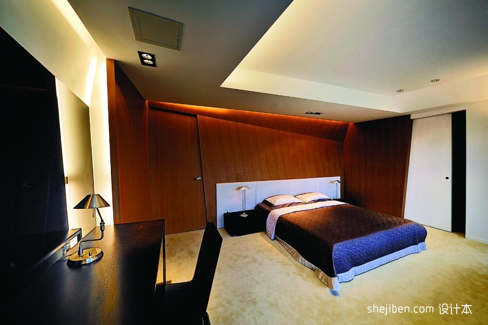 13现代风格复式暖色调青少年家居吊顶卧室兼书房装修效果图 高清图片