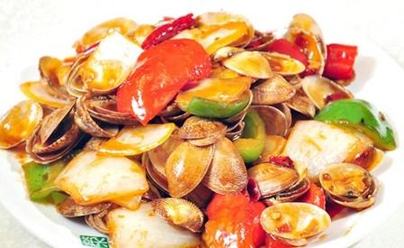 咸菜海贝   铁板包浆豆腐   烧味拼盘   泡椒炒鱿鱼   毛血旺   凉拌茼蒿   图片