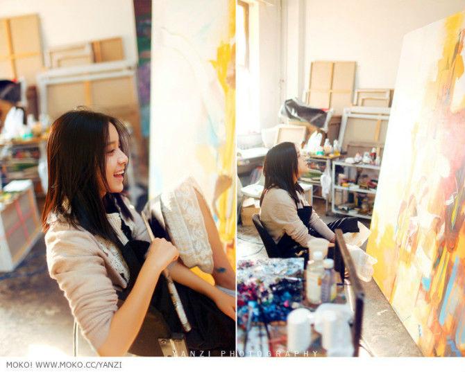 学画画的美女女生画画画画的女孩学画画的女生