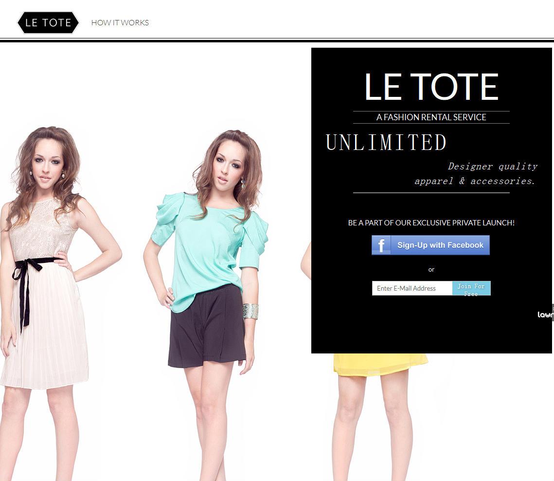 letote:基于月订的女性服装租赁网站