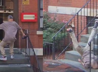 尴尬!男子台阶上摔了一跤
