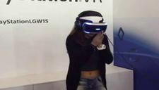 国外美女玩VR被鲨鱼吓傻