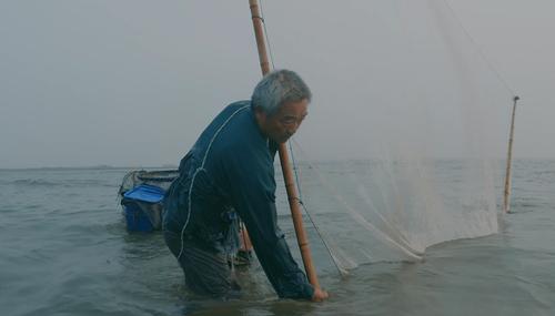 青岛大爷踩80厘米高跷下海捕虾,一次抓40斤,小孩吃了补钙!