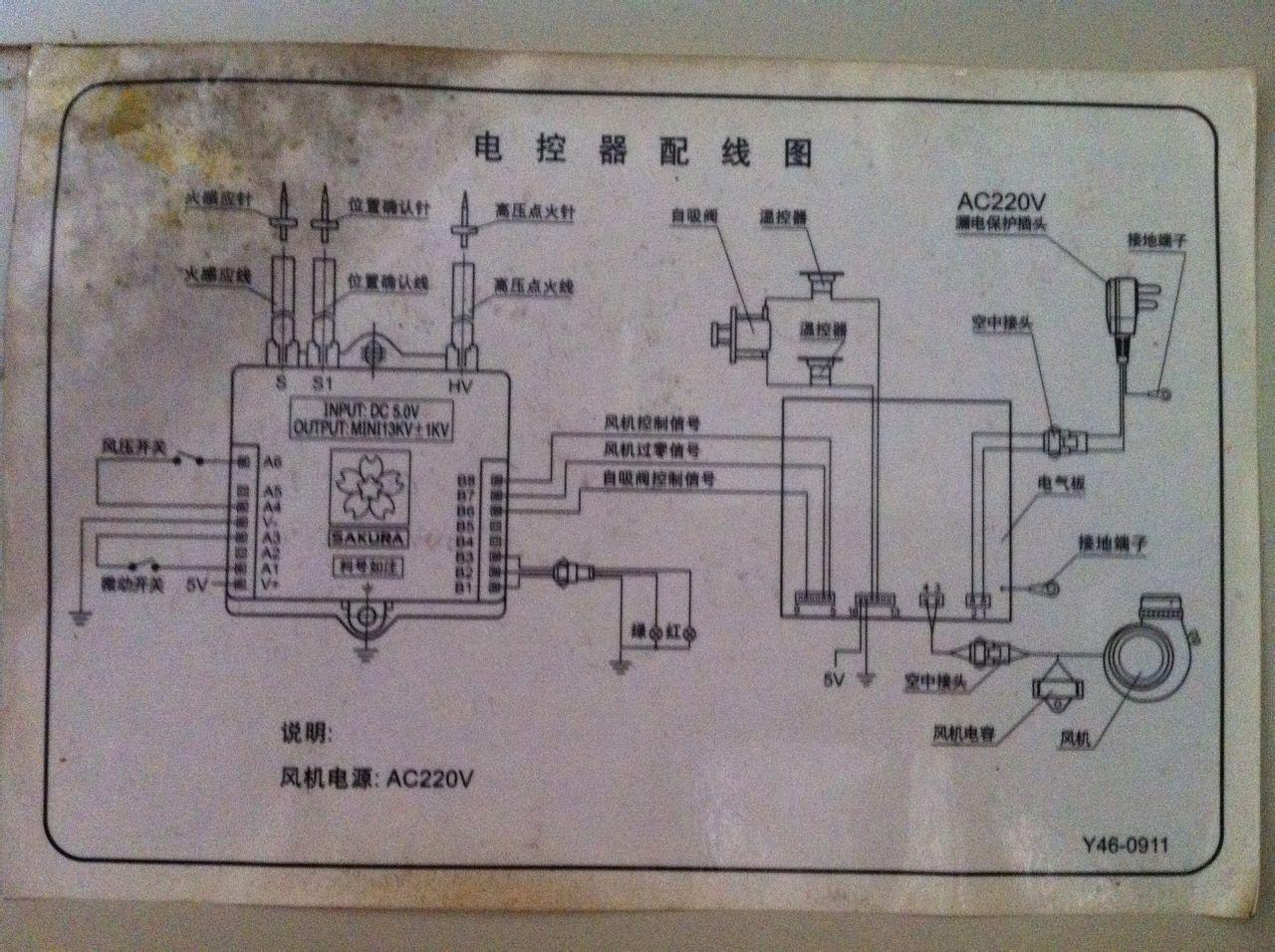 老式樱花热水器(樱花强排式燃气热水器不用电池的),最近点火老不正常图片