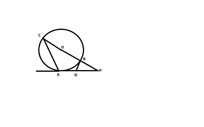 如图,直线pa切圆o于点a,直线po切圆o于点a,直线po交圆o于点c,b,点d在图片