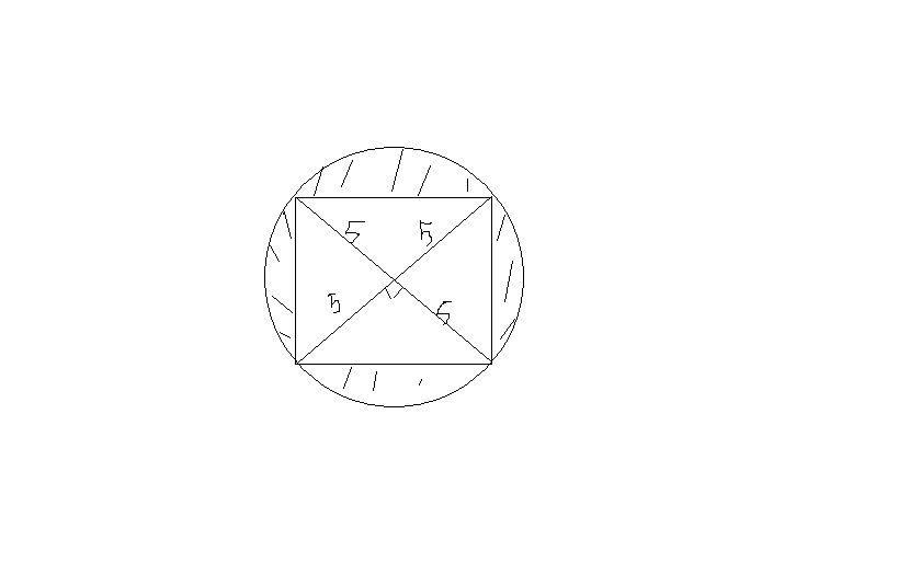 用圆的面积减去4个等直角三角形的面积就是阴影部分的面积.图片图片