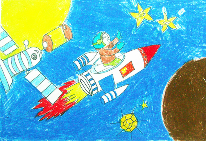 小学生太空科幻画图片