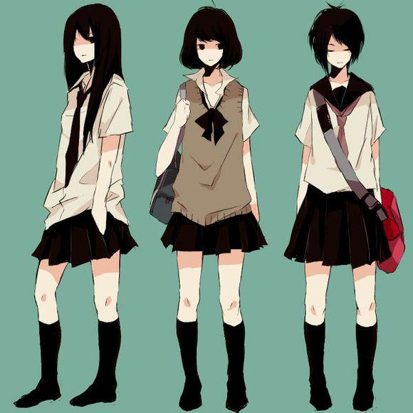 三个动漫女孩的图片 百度知道