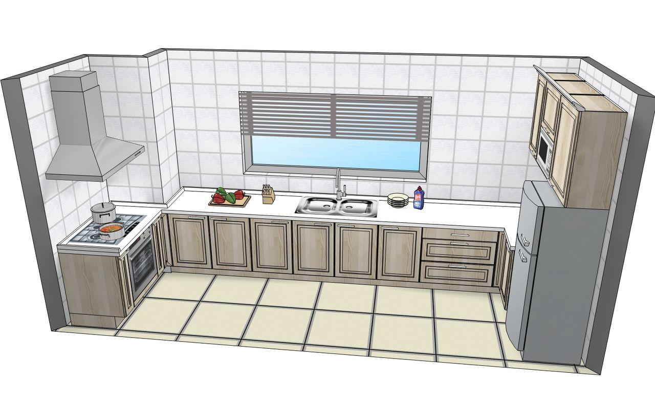 我的厨房南北长3.8米东西宽只有1.5米怎么设计合适图片