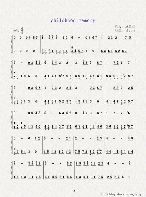 钢琴曲五线谱译成的简谱!图片