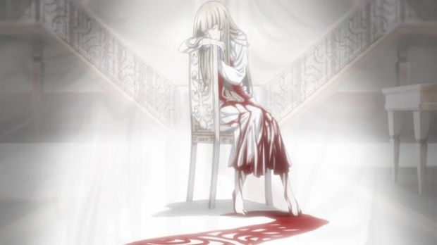 一个卡通女孩坐在椅子上表情要很忧伤的图片!各种求