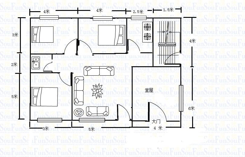 农村房屋设计图120平方要做四房一厅一卫一厨内带有楼梯上二楼怎么