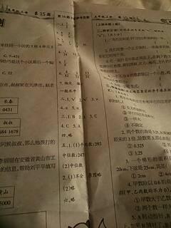 小学数学六年级上少年智力开发报答案53一62图片